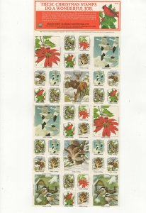 USA National Wildlife Federation Christmas Stamps 1984 Sheet of 40 MNH