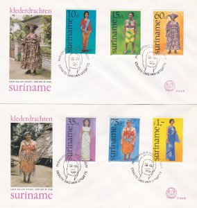 Suriname # 465-470, Native Costumes, Complete Set on 2 First Day Covers