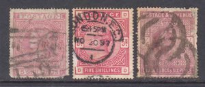 GREAT BRITAIN SC 57, 108, 139 CANCELS $1,000 SCV HIGH VALUES COLLECTION LOT