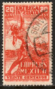 MEXICO E9, 20cts ARCHER. Special Delivery USED. F-VF. (971)