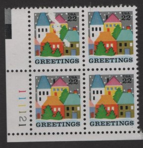 US, 2245, MNH, PLATE BLOCK, 1986, CHRISTMAS ISSUE