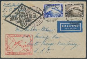 DOX FLIGHT COVER GERMANY TO NEW JERSEY OCT 30,1931 BR7975