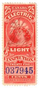 (I.B) Canada Revenue : Electric Light Inspection 25c (carmine)