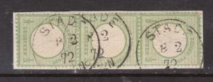 Germany #2 VF Used Strip Of Three On Piece
