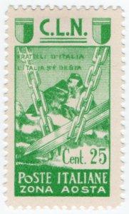 (I.B) Italy Postal : Aosta Local Post 25c