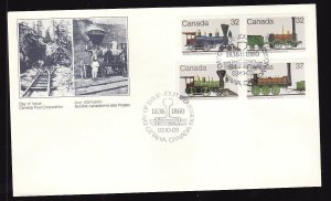 Canada-Sc#999-1002-stamps on FDC-Trains-Locomotives-1983-