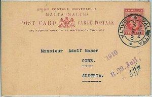 34950 - MALTA - POSTAL HISTORY - ONE penny POSTAL STATIONERY to AUSTRIA 1910