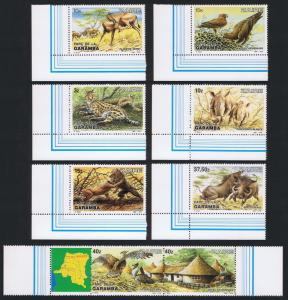 Zaire Birds Wild Animals Garamba 6v Corners +strip of 2v with margins