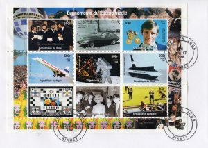 1960's EVENTS The Beatles,CONCORDE-Marilyn Monroe Sheetlet (9) FDC NIGER 1998