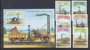 Benin 1159-65 MNH Railway/Locomotives SCV7.75