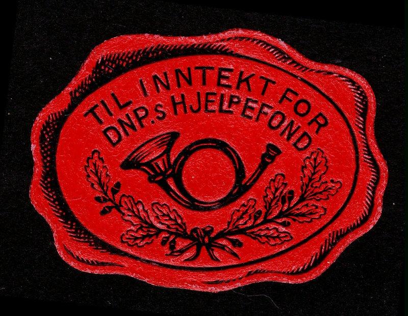 REKLAMEMARKE POSTER STAMP EMBOSSED - TIL INNTEKT FOR DNP.S HJELPEFOND (POSTHORN)