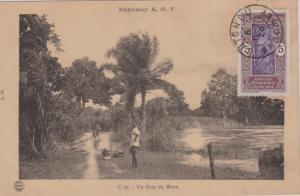 Dahomey 5c Man Climbing Oil Palm 1926 Cotonou, Dahomey PPC (Un Coin du Mono)....