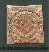 1858-62 Denmark Sc7 Coat of Arms used.