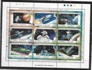1989    SIERRA LEONE  -  SG.  1275 / 1283  -  SPACE EXPLORATION SHEETLET  -  MNH