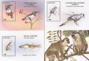 Lesotho - 1998 Wildlife - Set of 4 Souvenir Sheets - Scott #1094-7