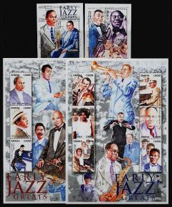HERRICKSTAMP GHANA Sc.# 2216-19 Jazz Sheetlets & Souvenir Sheets