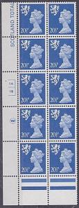 GB SCOTLAND Walsall 20½p cyl block of 10 1A 1B no dot MNH....................932