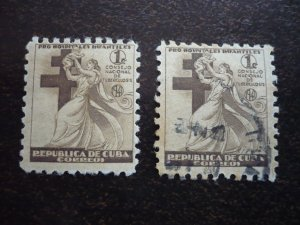 Stamps - Cuba - Scott# RA4 - Mint Hinged & Used Set of 2 Postal Tax Stamps