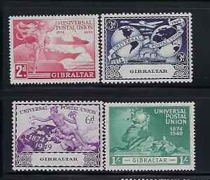 GIBRALTAR SCOTT #123-126  1949 UPU ISSUE- MINT  HINGED