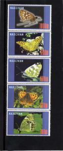Naxcivan Republic 1997 Butterflies Strip (5) Perforated mnh.vf