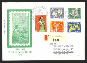 Switzerland Sc# B318-B322 FDC REGISTERED 1962 Apple Blossoms & Children