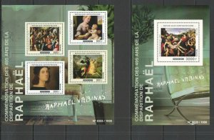 CA253 2015 CENTRAL AFRICA ART THE GREAT PAINTERS RAPHAEL KB+BL MNH