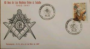 A) 1997, BRAZIL, FREEMASONRY, 95 YEARS OF MASONIC LODGE, ORDER AND WORK, FLORIAN
