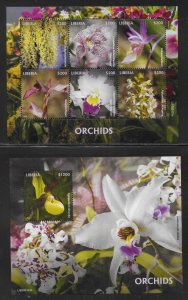 Liberia 3348, 3354 Orchids m/s and s.s. MNH