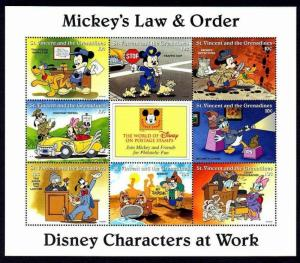 ST VINCENT - 1996 - DISNEY - MICKEY - DONALD ++ LAW & ORDER - MINT - MNH SHEET!