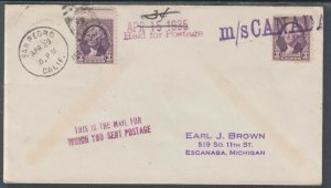 US Sc 720 on 1935 m/s Canada PAQUEBOT Cover