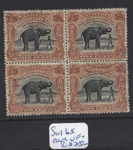 NORTH BORNEO (P1612B)  5C ELEPHANT SG 168 BL OF 4   VFU