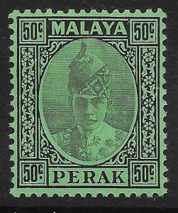 MALAYA PERAK SG118 1938 50c BLACK ON EMERALD PAPER MTD MINT