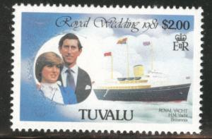TUVALU Scott 161 MNH** 1981 Royal wedding yacht stamp