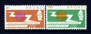 BRUNEI 1965 The Complete I.T.U. Centenary Set SG 132 & SG 133 MINT