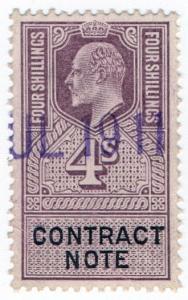 (I.B) Edward VII Revenue : Contract Note 4/- (1910)