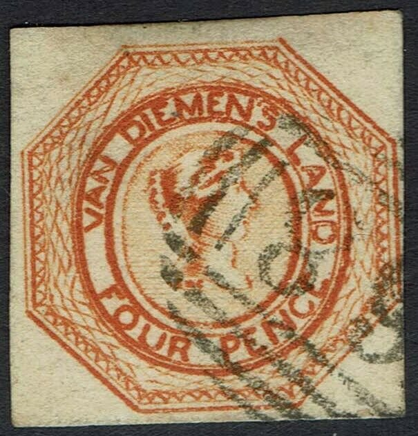 TASMANIA 1853 QV COURIER 4D 2ND STATE OF PLATE USED