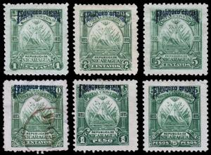 Nicaragua Scott O52-54, O56, O58, O60 (1895) Mint H F-VF B