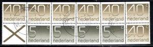 Netherlands Scott # 536d, used, booklet pane, se-tenant