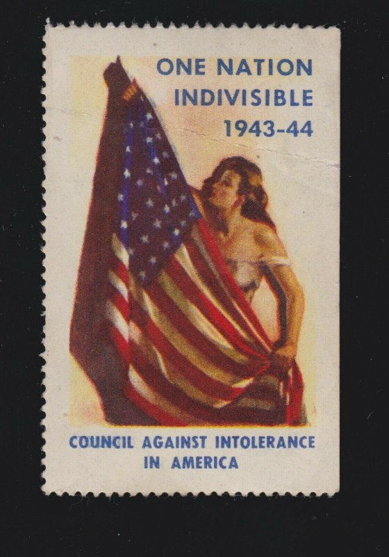 US Vintage WWII 1943-44 One Nation Indivisible Patriotic Cinderella Stamp