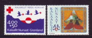 Greenland Sc B17-18 1993 Red Cross & Boy Scouts stamp set mint NH