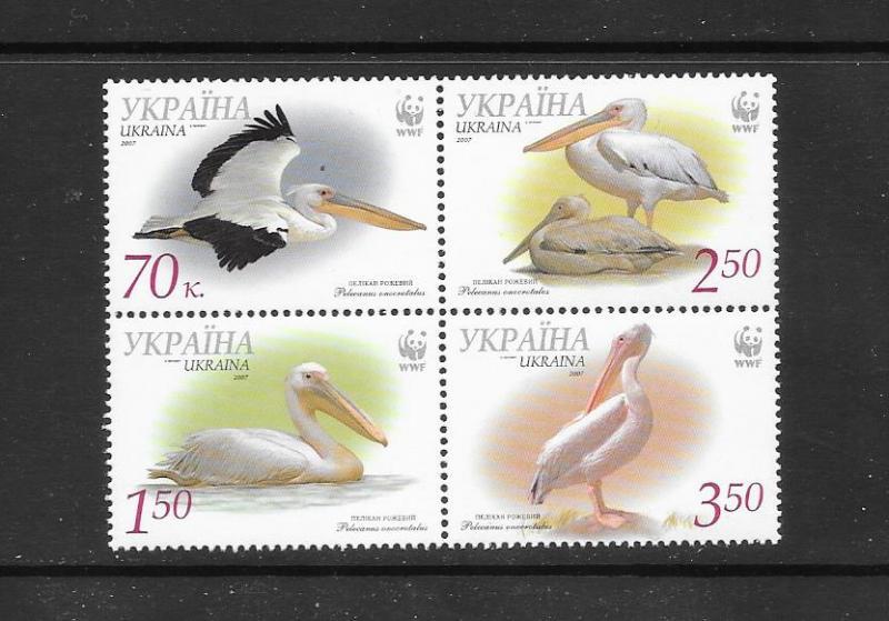 BIRDS - UKRAINE #696 PELICANS  WWF  MNH