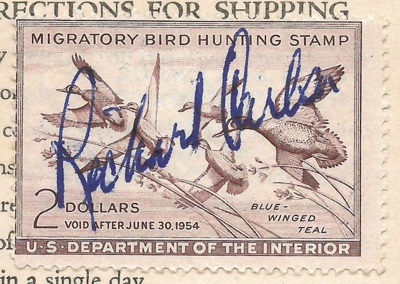 Doyle's_Stamps: Signed, Used #RW20 Federal Duck Stamp of 1953 on License