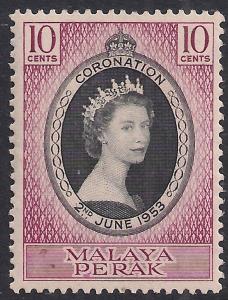 Malaya Perak 1953 QE2 10ct Coronation Umm SG 149 ( R1186 )