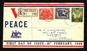 Australia 1946 Victory Series FDC Mailed to USA - Z16936