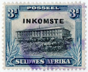 (I.B) South-West Africa Revenue : Duty Stamp 3d (Afrikaans)