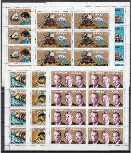 Ajman, Mi cat. 755-760 A. Apollo 14 issue on sheets of 8. ^