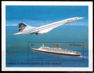 St. Vincent MNH S/S 1182 Ocean Liner & Jet 1990