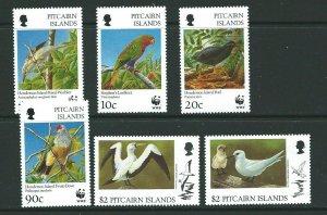 PITCAIRN ISLANDS SG504/9 1996 ENDANGERED SPECIES LOCAL BIRDS MNH