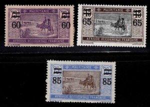 Mauritania Scott 55-57 MH* surcharged stamp set