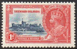 Leeward Islands 1935 1d  deep blue and scarlet (Silver Jubilee) MH